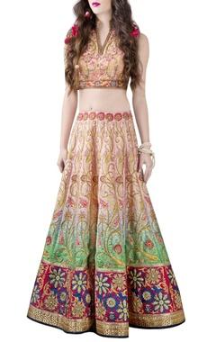 Pink & green embellished printed lehenga choli