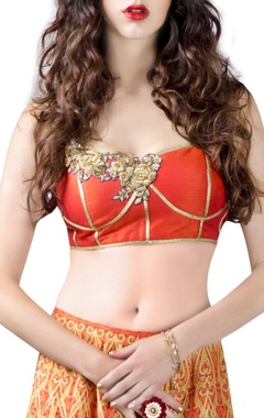 Coral & grey lehenga printed choli set