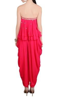 Pink embroidered tube and dhoti pants