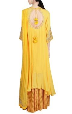 yellow embroidered kurta and palazzo set