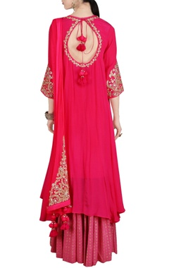 Deep coral embroidered kurta and palazzo set