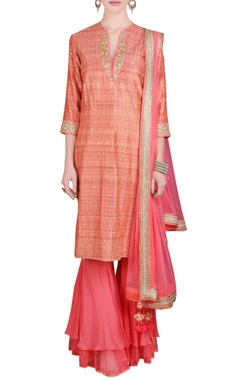 coral printed sequin embroidered kurta set