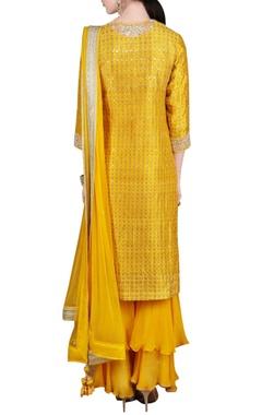 Yellow printed sequin embroidered kurta set