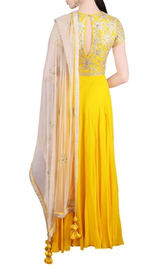 yellow floral embellished anarkali with dupatta
