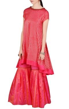 Red printed kurta & gharara