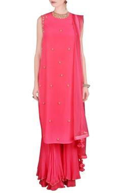 pink sequin embellished kurta set