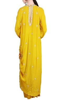 mustard embellished tunic with sharara
