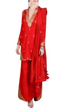 red gota patti embroidered kurta set