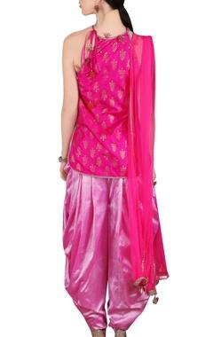 shaded pink short kurta and dhoti pants set