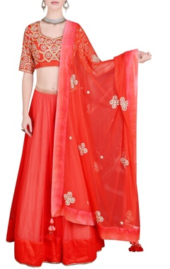 Bright orange embroidered lehenga set