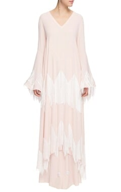 Blush pink embellished kaftan with palazzos
