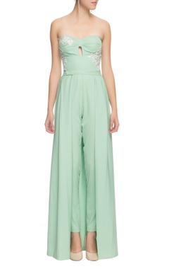 mint green embroidered jumpsuit