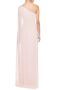 powder pink one shoulder sequinned gown