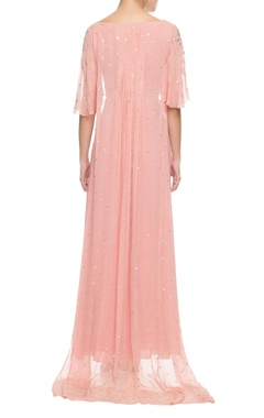 blush pink gota patti cape top with palazzos