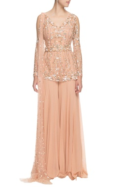 Beige sequin embellished kurta set