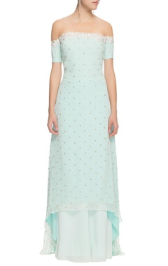 powder blue gota patti kurta with palazzos
