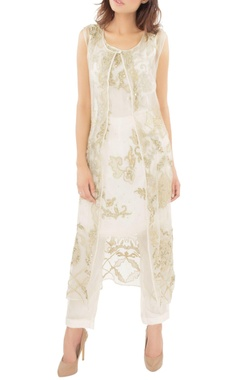 white embroidered tunic with jacket & trousers