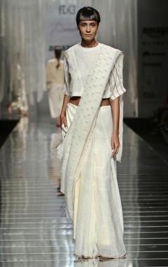 white handwoven printed sari