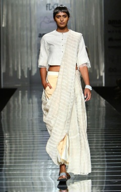 white handwoven sari with sheer striped detail
