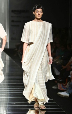 Ivory and beige handwoven striped sari
