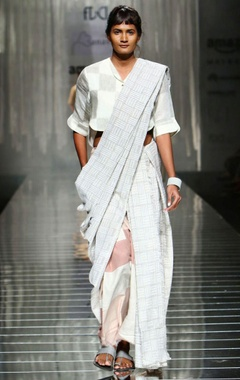 Grey & white handwoven sari