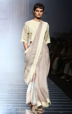 Grey handwoven sari with cream border