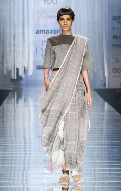 Light grey handwoven sari with check details