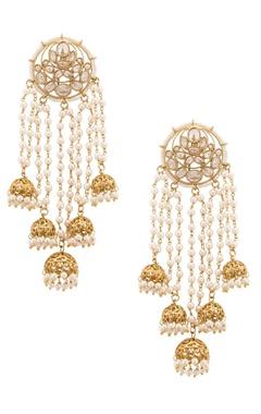 semi-precious kundan and pearl studded earrings