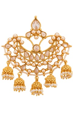white and gold pearl and diamond chandbalis