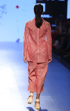 Salmon pink khadi linen collared jacket