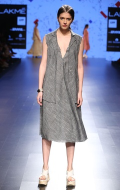 Grey khadi linen dress