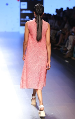 Salmon pink khadi linen dress