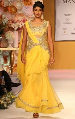 Bright yellow & gold embroidered draped sari