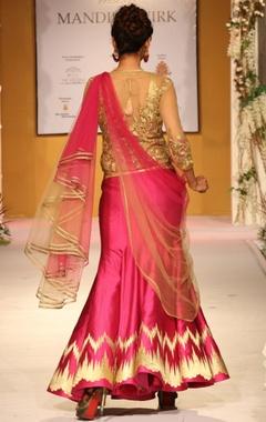 Pink & gold zari embellished lehenga set