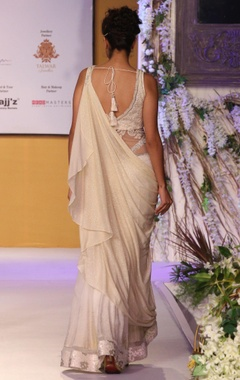 Ivory draped sari with lucknawi details