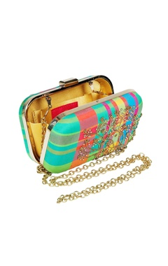 Multi-coloured silk embroidered clutch