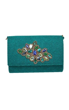 Blue embellished clutch