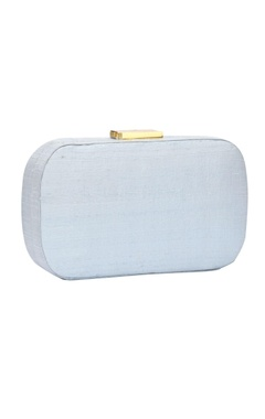 Powder blue Japanese bead embellished clutch