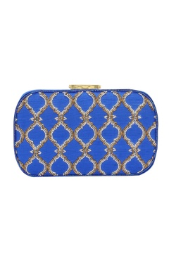 Royal blue Japanese bead embellished clutch