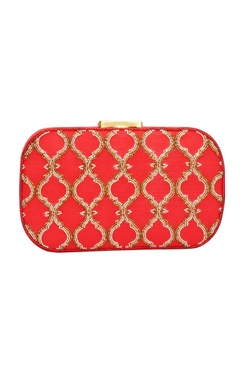Red Japanese bead embellished clutch