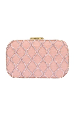Baby pink bead embellished clutch
