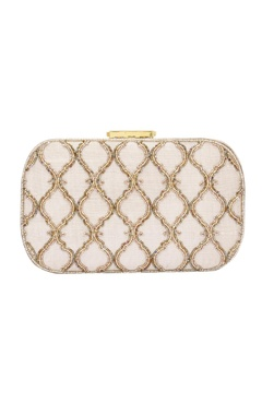 Light gold bead embellished box clutch