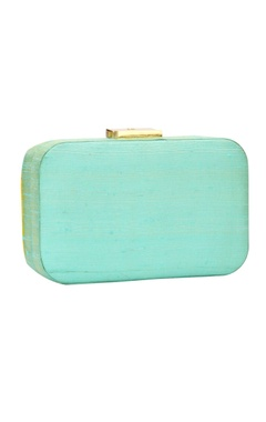 Mint green glass bead embellished clutch