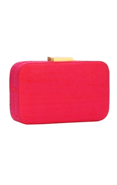 Rani pink bead work embellished box clutch
