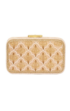 Gold bead work embellished box clutch