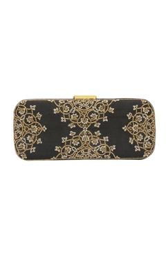 Black bead work embellished box clutch