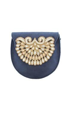 Rossoyuki Navy blue bead & mirror work box clutch