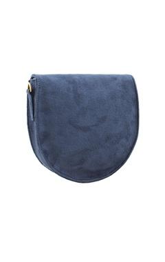 Navy blue bead & mirror work box clutch