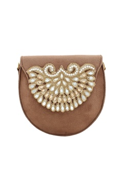 Brown Japanese glass bead & mirror embellished box clutch