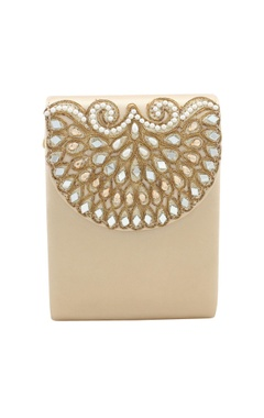 Rossoyuki Light gold bead & mirror work box clutch